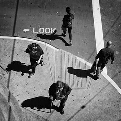 LOOK (. Jianwei .) Tags: street city light shadow urban look vancouver four walk candid strangers diamond lookdown decisivemoment waterfrontstation jianwei  kemily