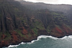 Scoured Coast (Tim Conway) Tags: park christmas travel winter sea wild vacation colour tourism wet rain america island hawaii islands coast us flying chopper unitedstates state pacific wildlife air united flight january scenic aerial fromabove na helicopter kauai hawaiian napoli remote states pali tropics copter rugged napalicoast noaccess hawaiʻi unspoilt napolicoast 2013 ruggedcoast nā nāpalicoaststatepark