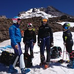 Women's team training at Mt. Hood (LtoR Hallie MacLachlan, Charley Field, Alix Wells, Emma King), July PHOTO CREDIT: JP Daigneault