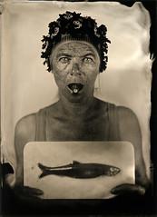 fishing the sea (fadami...) Tags: camera portrait blackandwhite fish analog wooden fisch tintype ambrotype wetplate analogue schwarzweiss 5x7 collodion 13x18 kollodium holzkamera nassplatte