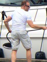 (ManontheStreet2day) Tags: male feet ass boat butt leg tshirt hunk cargo shorts stud