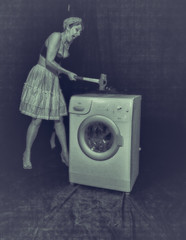 Mortianna and the washing machine duking it out. (K3ntFIN) Tags: portrait copyright hammer high model expression destruction machine anger heels washing pinup smashing sledge mortianna