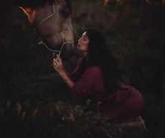 The Parting (Liat Aharoni) Tags: portrait horse love nature grass animal photoshop sadness sad feminine creative story nuzzle emotions emotive connection feelings sayinggoodbye tarabeier