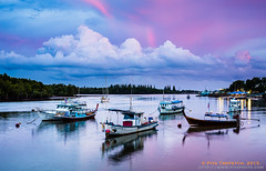 An Evening in Krabi, Thailand (Piya Trepetch) Tags: travel blue sunset sea sky cloud reflection water river thailand boats evening boat twilight fishing colorful asia purple dusk fishingboat th krabi andaman andamansea