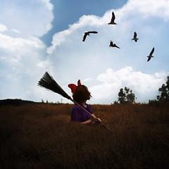 Kiki's Delivery Service. 43/52 (shelby gill) Tags: field birds clouds photomanipulation surreal bow miyazaki kikisdeliveryservice kiki broom broomstick fineartphotography hayao hayaomiyazaki shelbygill shelbyanngill