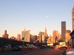 NYC from 44th Drive in LIC - 2 (IslesPunkFan) Tags: city nyc morning sky moon ny newyork buildings manhattan longisland un esb unitednations lic empirestatebuilding crystler