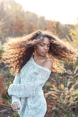 Free (ClaudiaJR) Tags: autumn portrait woman beautiful race hair mixed movement dof sundown portraiture conceptual emotive