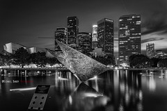 Ferraro in Monochrome (Michael Bandy) Tags: california city reflection night la blackwhite losangeles cityscape nightscape dtla losangelesskyline cityatnight cityskyline disneyconcerthall johnferraro downtownlosangeles losangelescounty d600 laskyline johnferrarobuilding nikond600