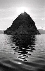 Shadow of the Pyramid (harrysnowden) Tags: shadow blackandwhite lake art film water monochrome island photography islands desert pyramid nevada photographers western rays analogue filmcamera sunrays tufa nikonfe wayoutwest saltlakes blackrockdesert negativefilm anahoisland pyramidisland tufaformations filmphotographers desertlakes originalphotographers harrysnowden