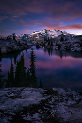 Valley of Blue Moon (Michael Bollino) Tags: sunset summer mountain lake mountains reflection washington twilight lakes alpine cascades backpack wilderness alpinelake