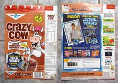 1978 General Mills Chocolate Crazy Cow Star Wars Cereal Box (gregg_koenig) Tags: old vintage star golden cow crazy general box chocolate cereal card valley 70s kenner 1978 wars 1970s mills
