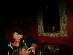 Vicki In the Banshee (II) (danielrobbins) Tags: life nightphotography friends travelling night drunk fun pub bars edinburgh random dundee eating weekend candid january drinking gail nightlife moment publictransport vicki hume atmospheric spontaneous nightsout inthemoment candidphotography edinburghnightlife thatgirlgail