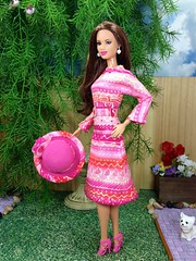 Carnation pink hat (enchantedstyles.etsy.com) Tags: pink hat shoes doll dress barbie diorama