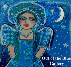 The Blue Lady. A poster for a show at the Out of the Blue Gallery. Copyright: Anne Permki (Anne Permki) Tags: blue painting mixedmedia crescentmoon shadesofblue ladysingstheblues outofthebluegallery artshowposter