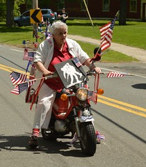 Patriotism is Alive and Well (Geoffrey Coelho Photography) Tags: old woman flag americanflag scooter patriotic flags elderly american patriotism memorialday motorscooter observance