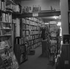 End of An Era (BunnySafari) Tags: downtown guelph books bookstore nancy bookshelves yashicamat124g fpp closingdown kodak400tmax autaut macondobooks april2014
