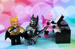 Introducing the... Batband! (Lesgo LEGO Foto!) Tags: lego minifig minifigs minifigure minifigures collectible collectable legophotography omg toy toys legography fun love cute coolminifig collectibleminifigures collectableminifigurebatmanmovie thebatmanmovie batman movie bat band music musicband rock