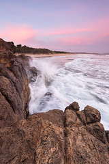 Roaring Beach (andrewfuller62) Tags: southarm southerntasmania tasmania seascape landscape landscapesshotinportraitformat portraitorientationlandscape rocks beach dusk