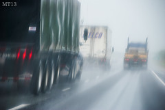Rain Hazard (Matthew Trevithick Photography) Tags: summer ontario window wet rain dangerous highway may rainy rig trucks freight 401 18wheeler 2013 somwehere