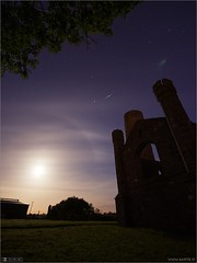 Iridium Flare & Lens Flare (bbusschots) Tags: ireland moon tower history church night ruin astrophotography lensflare maynooth satelite kildare localhistory historicbuilding iridiumflare taghadoeroundtower