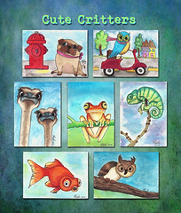 Cute Critters (flowerlily1) Tags: dog atc watercolor vespa goldfish pug frog ostrich firehydrant owl handdrawn chamaleon