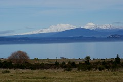 Tongariro, Ngauruhoe, and Ruapehu from SH 1; (C & R Driver-Burgess) Tags: road blue trees sunset sky orange cloud white mountain lake snow black reflection grey volcano rocks desert cone peak hills tongariro chateau tussock ngauruhoe ruapehu fiery