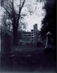 From The Cemetery (detcypher urbex) Tags: bw white plant black abandoned film dark holga boulevard decay michigan empty detroit grand falling vacant decayed packard apart unused