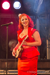 Simply Red!      TrinDiego (TrinDiego) Tags: city uk red people colour london festival female sisters dance concert colours open singing dancing air band retro harmony wharf sing canary accordian instruments canarywharf catchy 2013 puppini trindiego