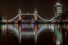 Walkie Talkie and Tower Bridge reflected - HDR (jzakariya) Tags: street uk bridge england reflection building london tower saint st thames night river lights nikon united kingdom pauls 20 nikkor fenchurch jawad walkie talkie zakariya untiedkingdom d300s