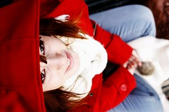 cmon, again (Sophia Sonja Lavrov) Tags: red italy milan cute girl smile scarf canon outside bigeyes eyes italian hands nikon bokeh girly coat details hipster veronica redhead clothes 60mm turin canonbody nikonlens bokelicious 60mmlens