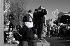 whatsoever you do (philliefan99) Tags: people blackandwhite bw washingtondc districtofcolumbia protest demonstration dcist roevwade antiabortion pennquarter marchforlife abortionrights firstamendment homelesswoman constitutionavenuenw papalflag