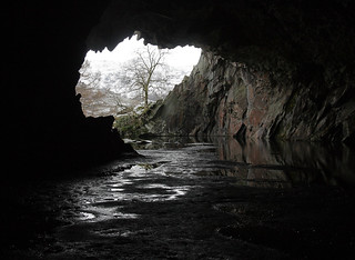 Rydal Cave, Loughrigg Quarries, overlooking Rydal Water, near Ambleside, Lake District National Park, Cumbria, UK