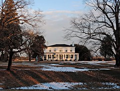 Magnolia Plantation (1845): Scotland Neck Vicinity, Halifax County, North Carolina (EdgecombePlanter) Tags: winter sunset snow cold ice frozen nc moody shadows snowy south columns northcarolina plantation carolina ligth chilly mansion halifax frigid antebellum greekrevival wintercolors southernmansion