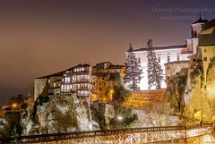 Casas Colgadas (.:oneiroi:.) Tags: travel bridge houses light espaa night puente noche spain cityscape olympus hanging cuenca e410 uploaded:by=flickrmobile flickriosapp:filter=nofilter