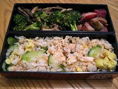 bento 3.4.14 (mamichan) Tags: mushroom rice cucumber egg salmon broccoli bento radish localeats oystermushroom kingfieldfarmersmarket watermelonradish fultonfarmersmarket