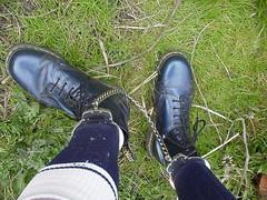 Metallic blue 8-hole DM boots (DONNYB-UK) Tags: blue socks boots metallic leg doc marten dm punishment footie irons 8hole