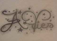 aries word tattoo with stars (tattoos_addict) Tags: tattoo word stars with aries startattoo