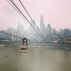"#Chongqing Yangzi River Cable Car. ""Hanging out"" with 35 million Chinese friends in a cool mega city!"
