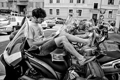 CityBiker (Claudio6) Tags: street boy people bw rome photography motorcyclist steetphotography