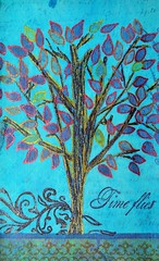 Time Flies (ICAD 37 of 61) (clayangel_sc) Tags: blue tree art leaves glitter day mixedmedia ooak card aceo doodles draw index 3x5 indexcards artcards icad a indexcardaday