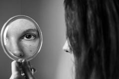 I See You. (BárbaraAraújo) Tags: portrait girl eye eyes mirror hair blackandwhite bw