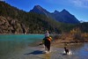 Riding Into Turquoise Waters (cowgirlrightup) Tags: canadianrockies soblessedtoridehere horsebackshooting canon40d cowgirl mountains autumn river cowgirlrightup saddletime