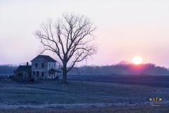 The Sun Sets on the Past (SteveFrazierPhotography.com) Tags: farm house abandoned old sun winter illinois il farming farmland agriculture rural country countryside landscape outdoor evening sunset stevefrazierphotography chili hancockcounty agricultural scene scenery beautiful tree art artwork weathered vintage historic historical yesteryear township