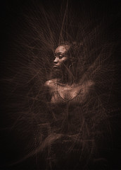 Reticulation (Cindy_Clicks) Tags: dark stings electric vibration monotone exciting shadow glow woman