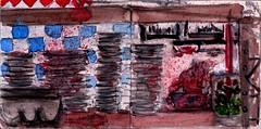 es war ein schöner Tag gewesen. Legionen von Schweinen hatte man dafür die Beine ausgerissen (raumoberbayern) Tags: sketchbook skizzenbuch tram munich münchen bus strasenbahn pencil bleistift ballpoint paper papier robbbilder stadt city landschaft landscape spring frühling summer sommer lake trip bavaria germany airport nürnberg italiener kugelschreiber beergarden biergarten wirtshaus tavern kitchen küche geschirr abwasch