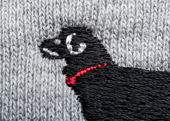 The Black Dog On My Sleeve (melmark44) Tags: strobist embroidered cotton linen hmm clothtextile cloth textile dog blackdog sweatshirt sleeve macromondays logo finish texture macro photography offcameraflash ocf 5dmk4 5dmkiv fullframe ef100mmf28macrousm canoneos5dmarkiv canon macrolens 5d4 rapidboxstrip westcott grid eggcrategrid honeycombgrid threads weave woven red collar redcollar dogcollar stitching stitches stitch deflectorplate lens closeup detail 5d prime yongnuo 100mm speedlite speedlight modifier lighting