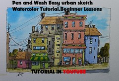 A simple pen and watercolor wash urban sketching (nilrochaart) Tags: video youtube urban sketch drawing wash easy tutorial watercolor art lesson beginners sketching
