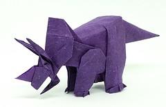 Triceratops (1999), designed by Fumiaki Kawahata (M@ttyGroves) Tags: purple dinosaur origami paper triceratops fumiaki kawahata