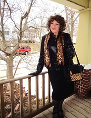 The Only Thing Missing Is A Chapeau Of Some Kind . . . (Laurette Victoria) Tags: woman female laurette purse curly brunette milwaukee jacket pencilskirt scarf gloves