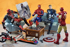 Civil War Part 4: The Mess (Pete Tapang) Tags: captain america spiderman spider man antman ant deadpool comics marvel civil war wade wilson steve rogers tony stark toy action figure figuarts figma revoltech toys figurine poseable japanese funny humor comedy cinematic